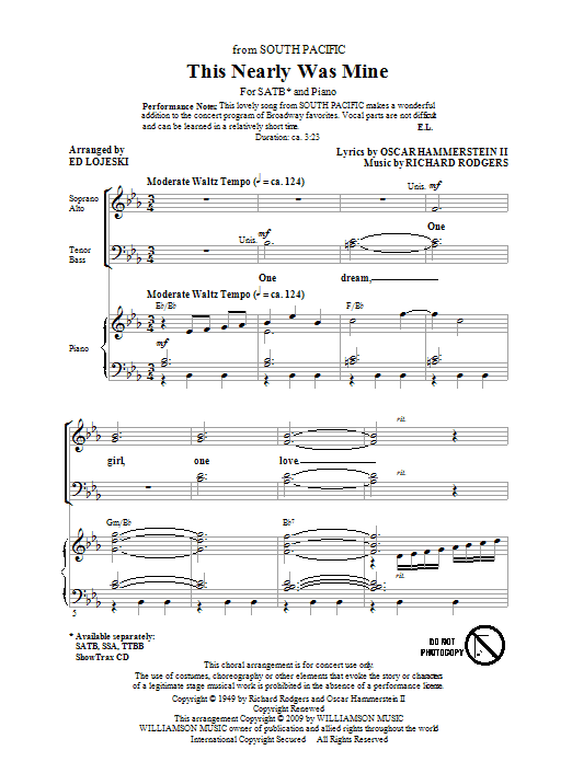 Ed Lojeski This Nearly Was Mine (from South Pacific) sheet music notes and chords. Download Printable PDF.