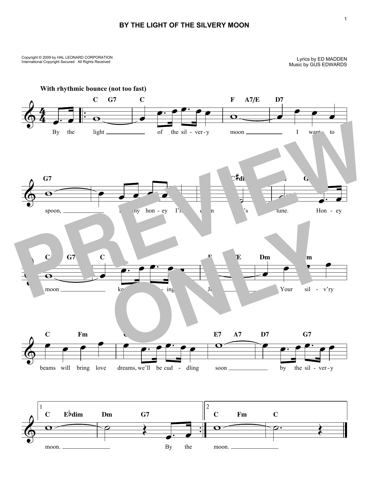 Ed Madden By The Light Of The Silvery Moon sheet music notes and chords. Download Printable PDF.