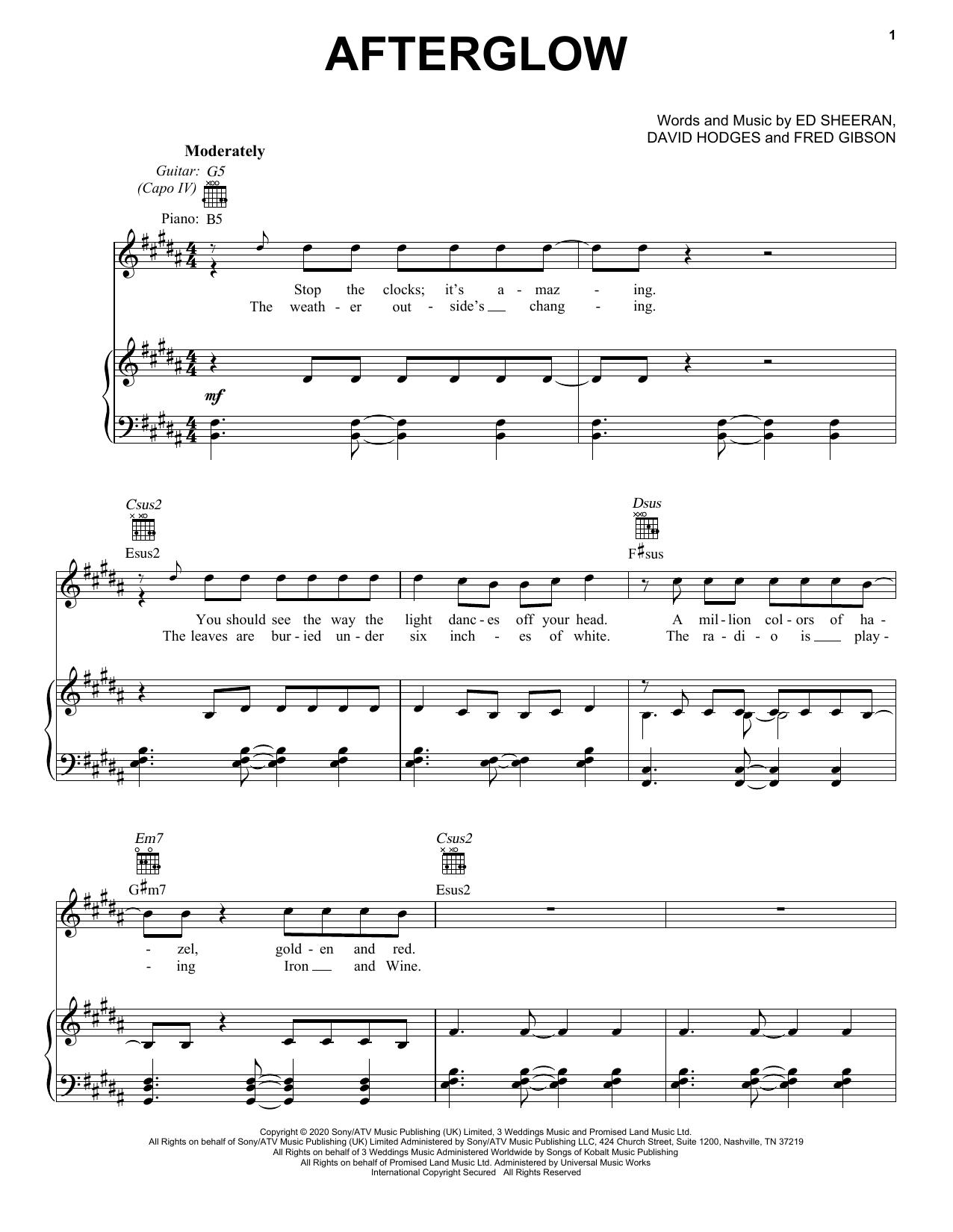 Ed Sheeran Afterglow sheet music notes and chords. Download Printable PDF.
