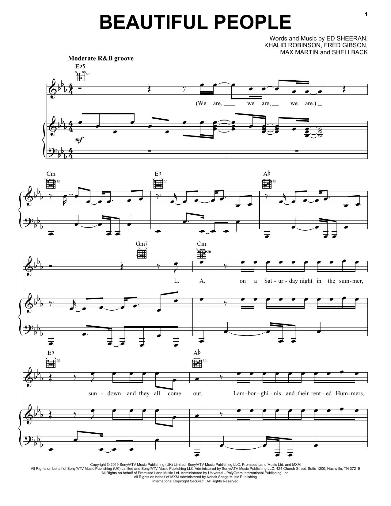Ed Sheeran Beautiful People (feat. Khalid) sheet music notes and chords. Download Printable PDF.