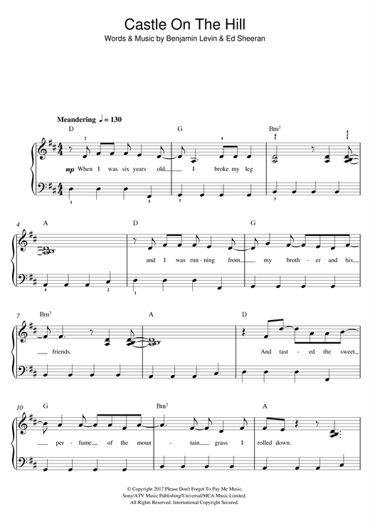 Ed Sheeran Castle On The Hill sheet music notes and chords