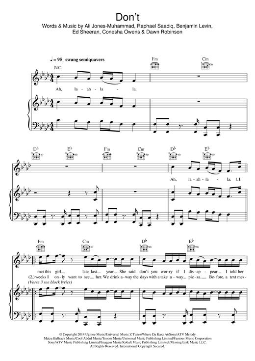 Ed Sheeran Don't sheet music notes and chords