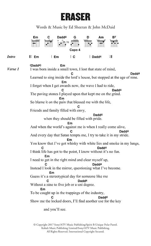 Ed Sheeran Eraser sheet music notes and chords