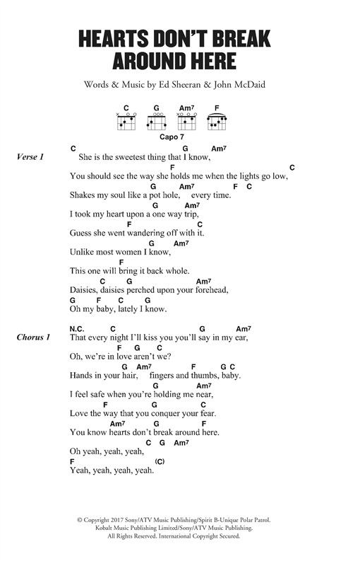Ed Sheeran Hearts Don't Break Around Here sheet music notes and chords. Download Printable PDF.