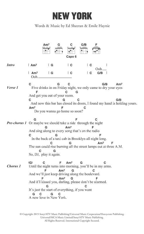 Ed Sheeran New York sheet music notes and chords. Download Printable PDF.