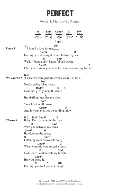 Ed Sheeran Perfect sheet music notes and chords. Download Printable PDF.