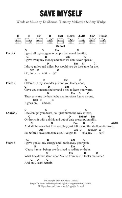 Ed Sheeran Save Myself sheet music notes and chords