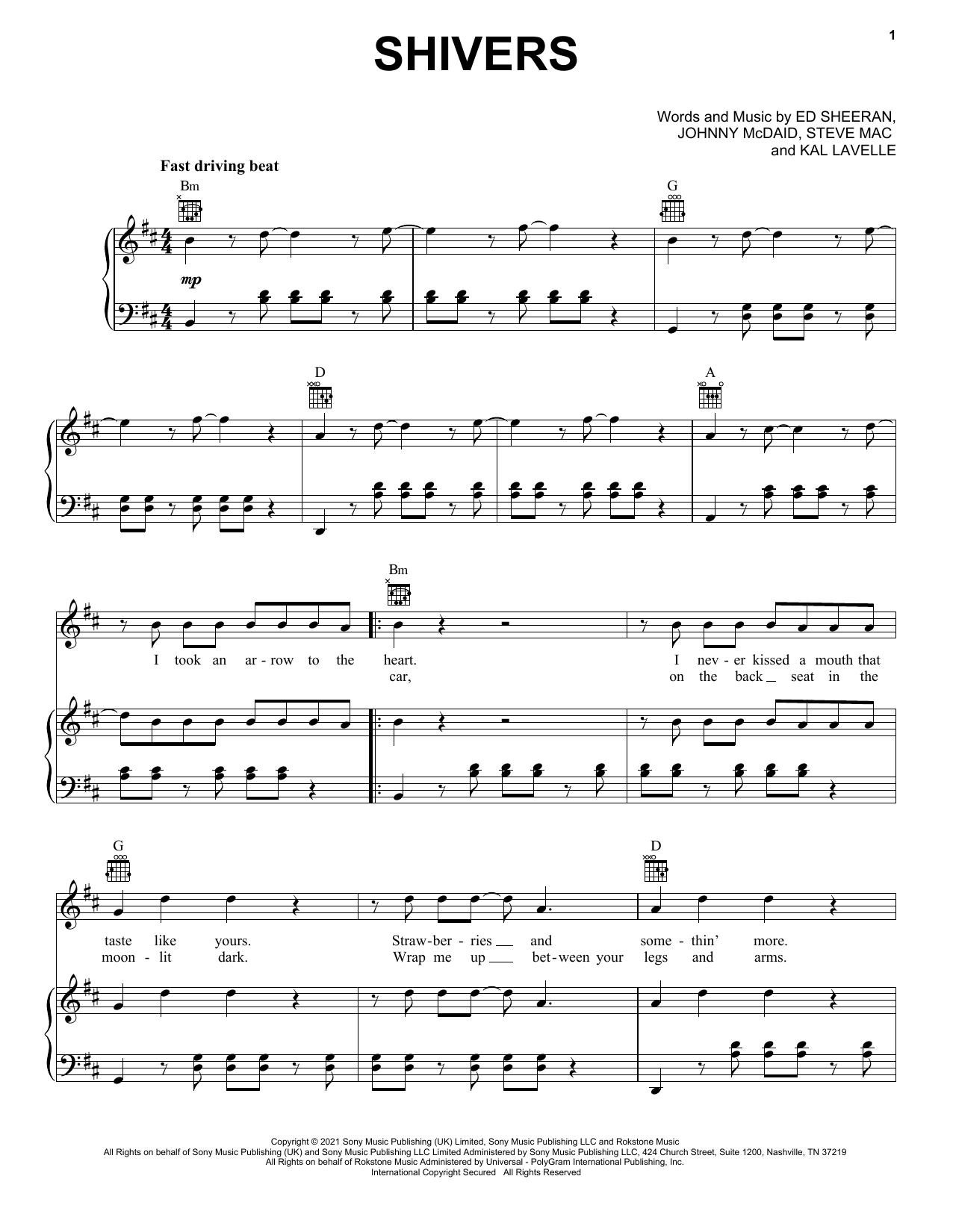 Ed Sheeran Shivers sheet music notes and chords. Download Printable PDF.