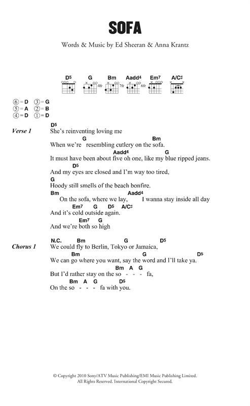 Ed Sheeran Sofa sheet music notes and chords. Download Printable PDF.
