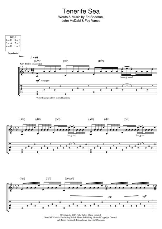 Ed Sheeran Tenerife Sea sheet music notes and chords. Download Printable PDF.