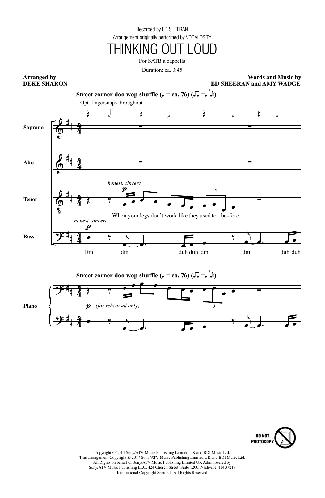 Ed Sheeran Thinking Out Loud (arr. Deke Sharon) sheet music notes and chords. Download Printable PDF.