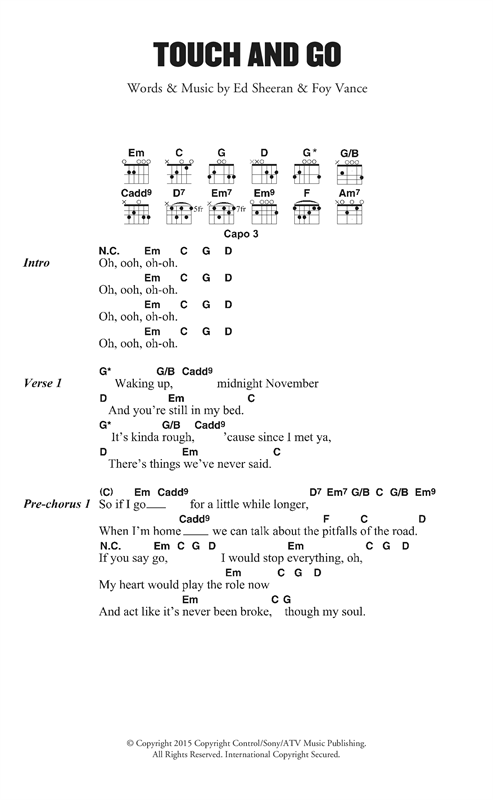 Ed Sheeran Touch And Go sheet music notes and chords. Download Printable PDF.