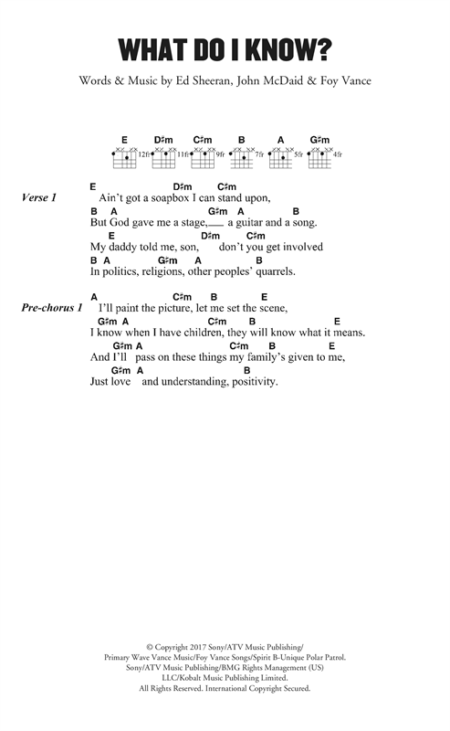 Ed Sheeran What Do I Know? sheet music notes and chords