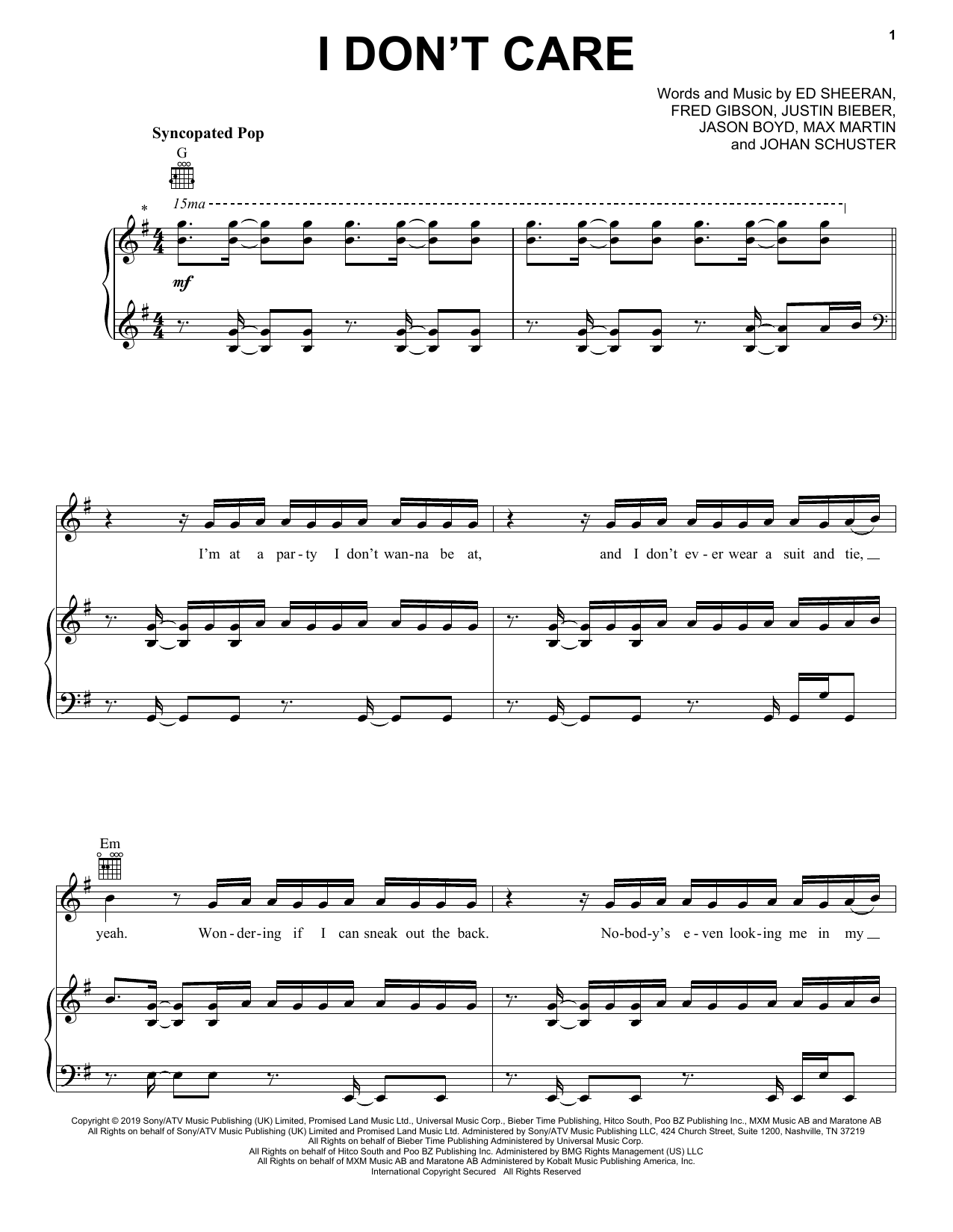 Ed Sheeran & Justin Bieber I Don't Care sheet music notes and chords. Download Printable PDF.