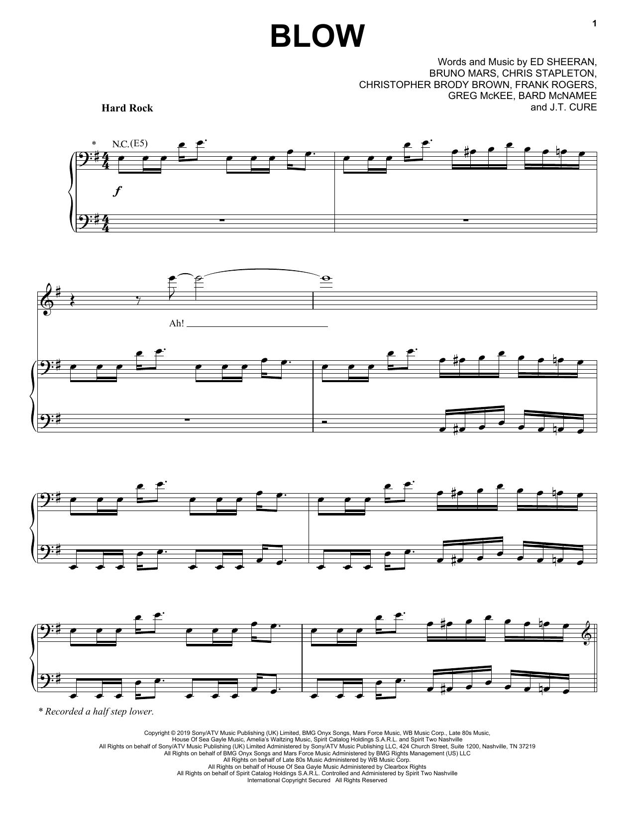 Ed Sheeran, Chris Stapleton & Bruno Mars BLOW sheet music notes and chords. Download Printable PDF.