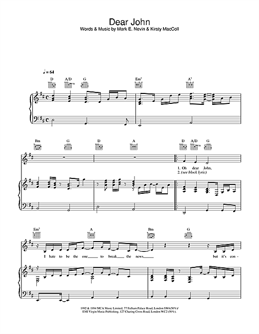 Eddi Reader Dear John sheet music notes and chords. Download Printable PDF.