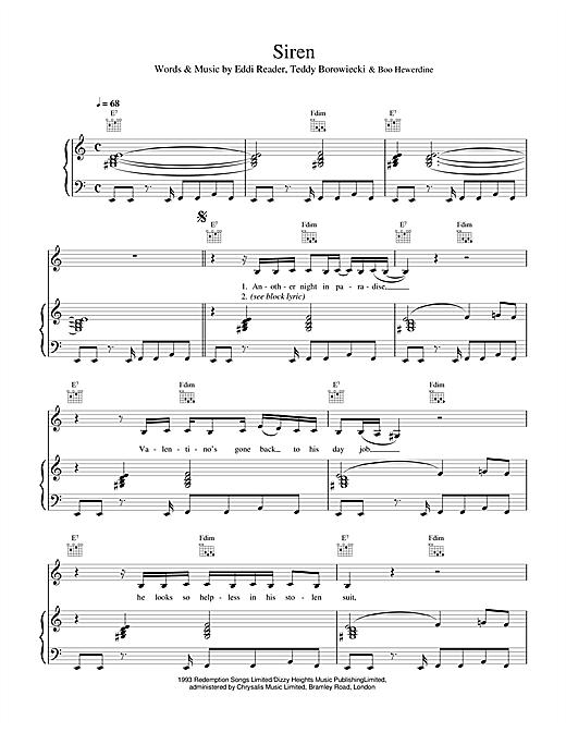 Eddi Reader Siren sheet music notes and chords