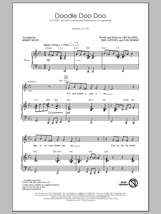 Eddie Cantor Doodle Doo Doo (arr. Kirby Shaw) sheet music notes and chords. Download Printable PDF.