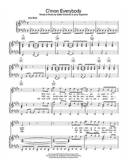 Eddie Cochran C'mon Everybody sheet music notes and chords. Download Printable PDF.