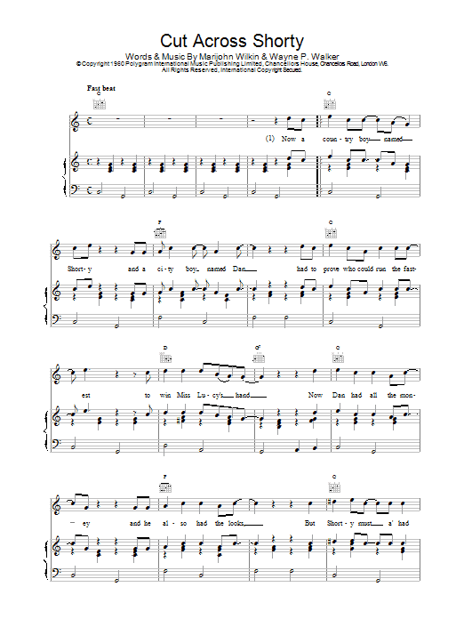 Eddie Cochran Cut Across Shorty sheet music notes and chords. Download Printable PDF.