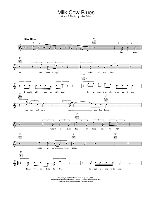 Eddie Cochran Milk Cow Blues sheet music notes and chords. Download Printable PDF.