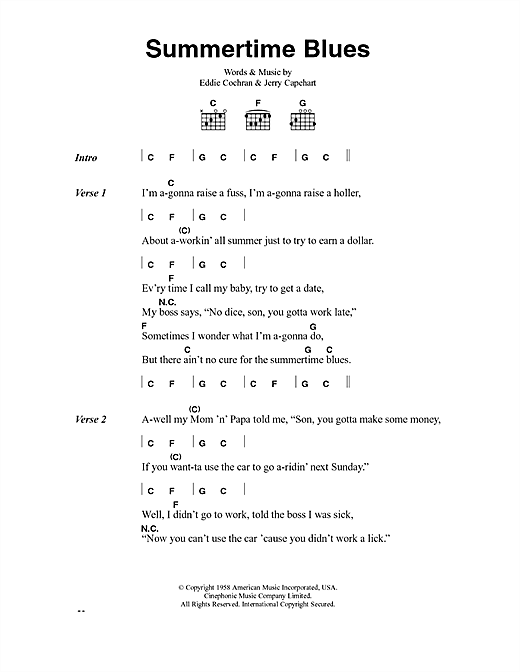 Eddie Cochran Summertime Blues sheet music notes and chords. Download Printable PDF.