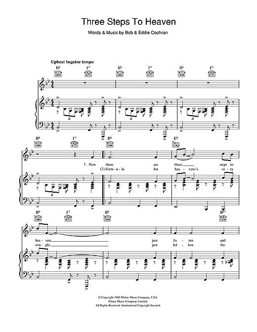 Eddie Cochran Three Steps To Heaven sheet music notes and chords