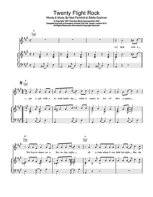 Eddie Cochran Twenty Flight Rock sheet music notes and chords. Download Printable PDF.