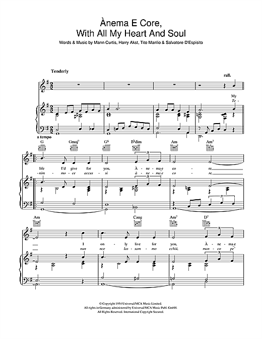 Eddie Fisher Anema E Core (With All My Heart And Soul) sheet music notes and chords. Download Printable PDF.