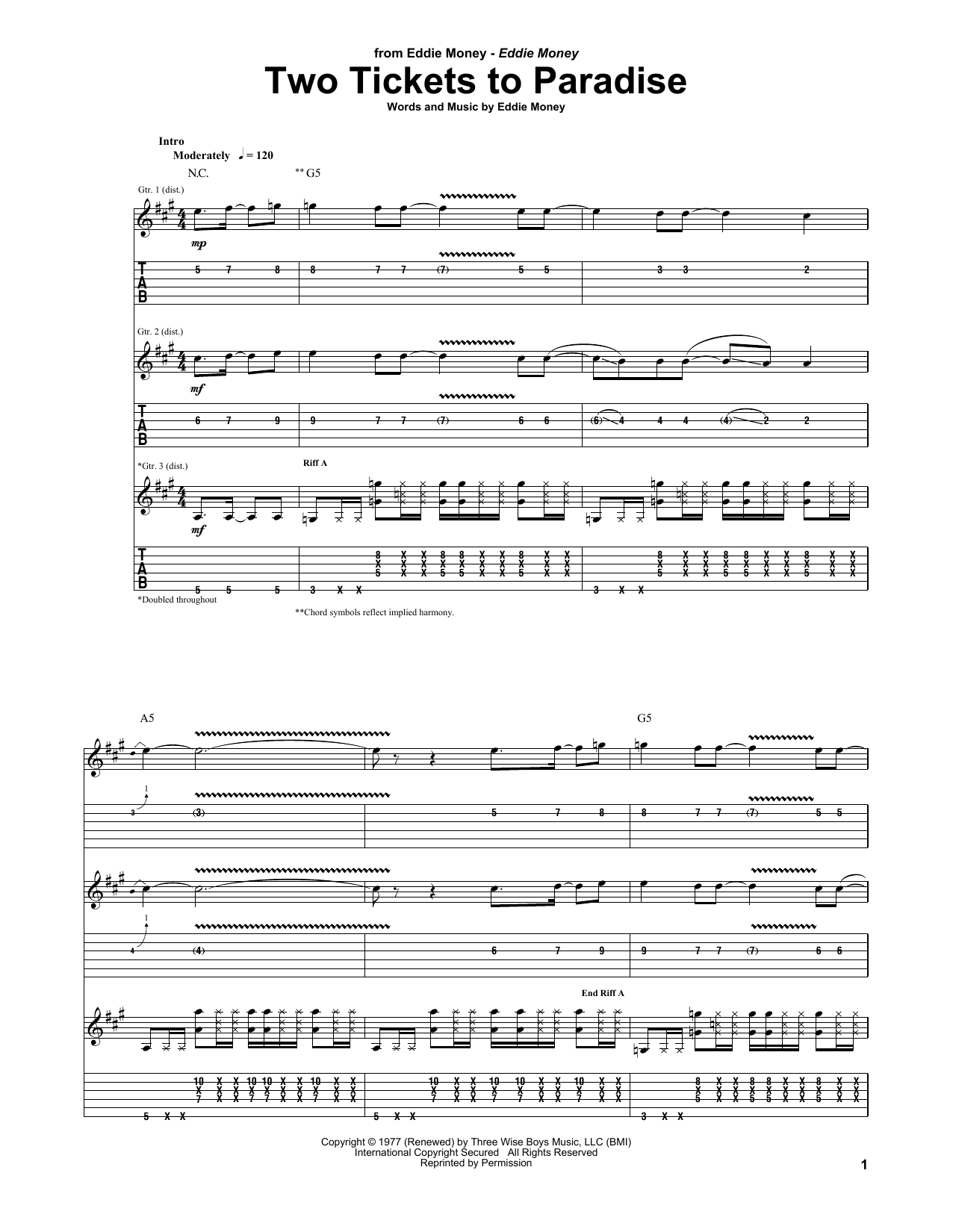 Eddie Money Two Tickets To Paradise sheet music notes and chords. Download Printable PDF.