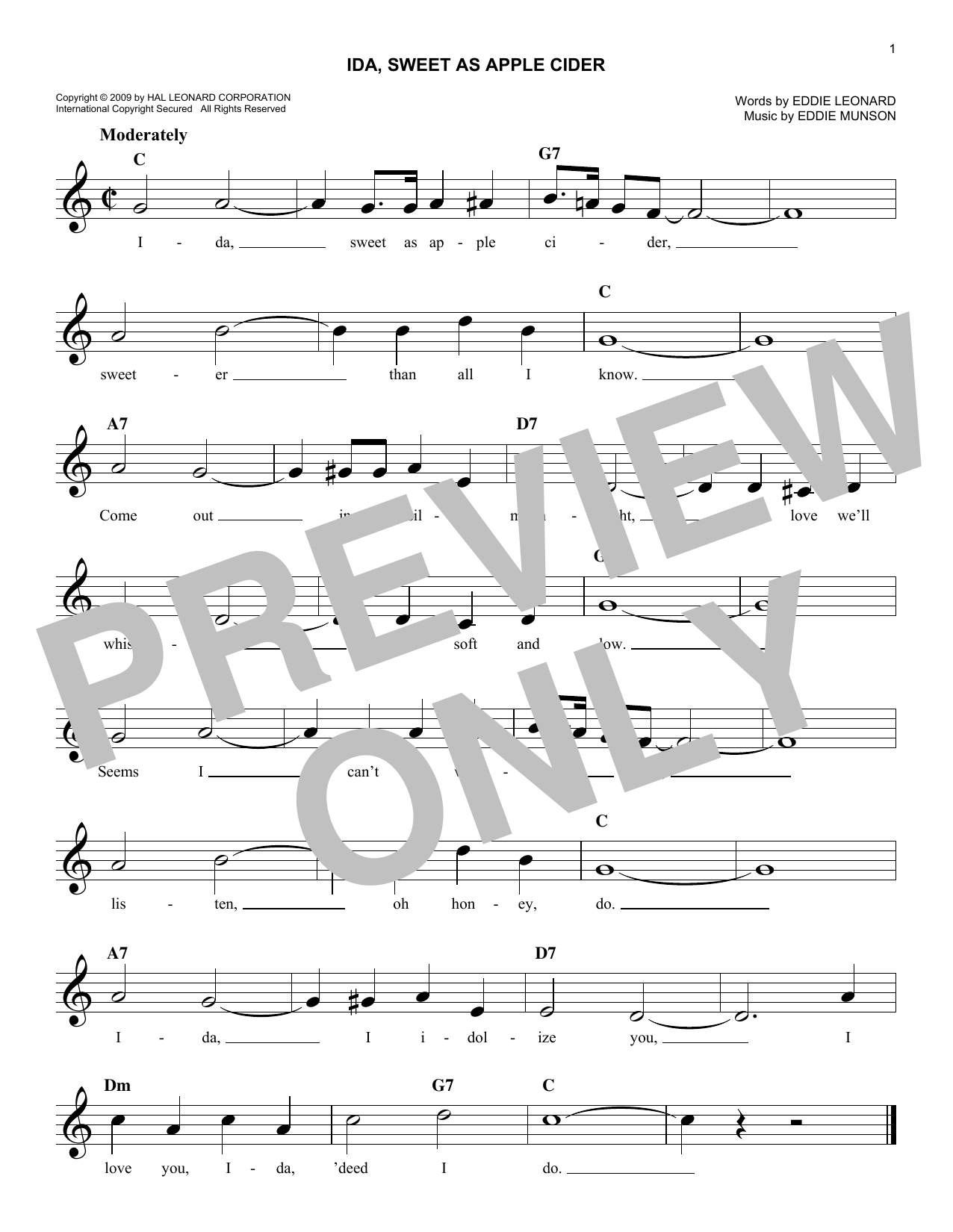 Eddie Munson Ida, Sweet As Apple Cider sheet music notes and chords. Download Printable PDF.