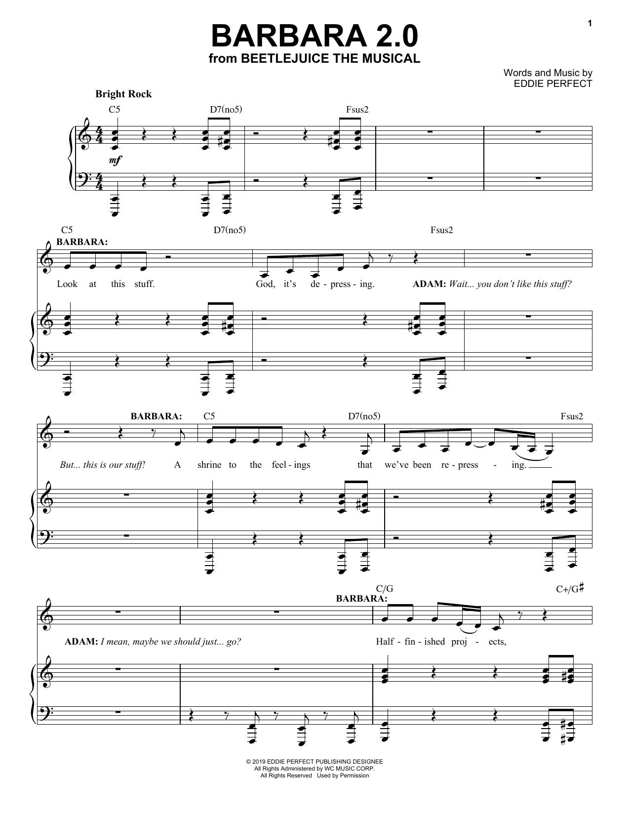Eddie Perfect Barbara 2 0 From Beetlejuice The Musical Sheet Music Pdf Notes Chords Broadway Score Piano Vocal Download Printable Sku 428606