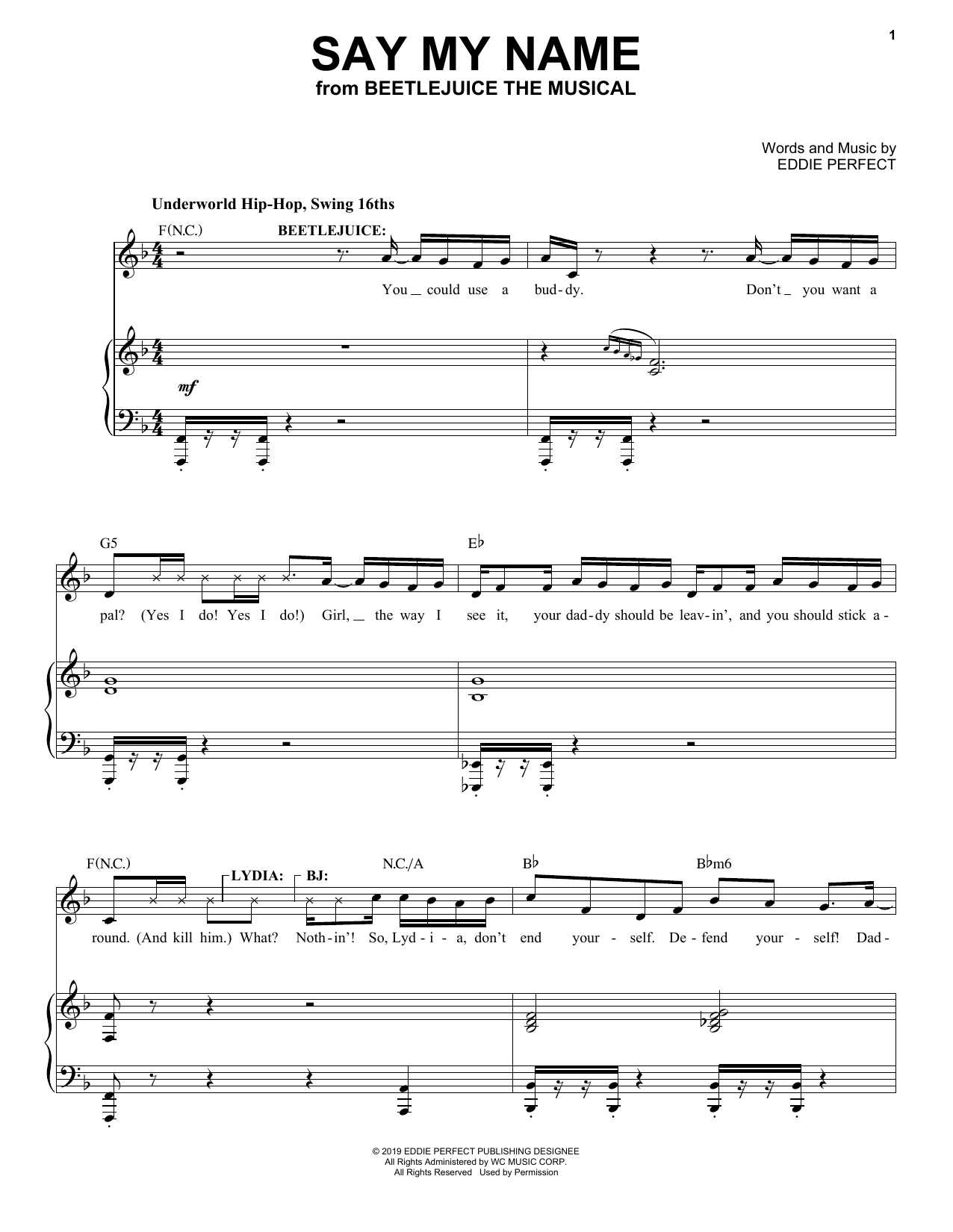Eddie Perfect Say My Name From Beetlejuice The Musical Sheet Music Pdf Notes Chords Broadway Score Piano Vocal Download Printable Sku 428616