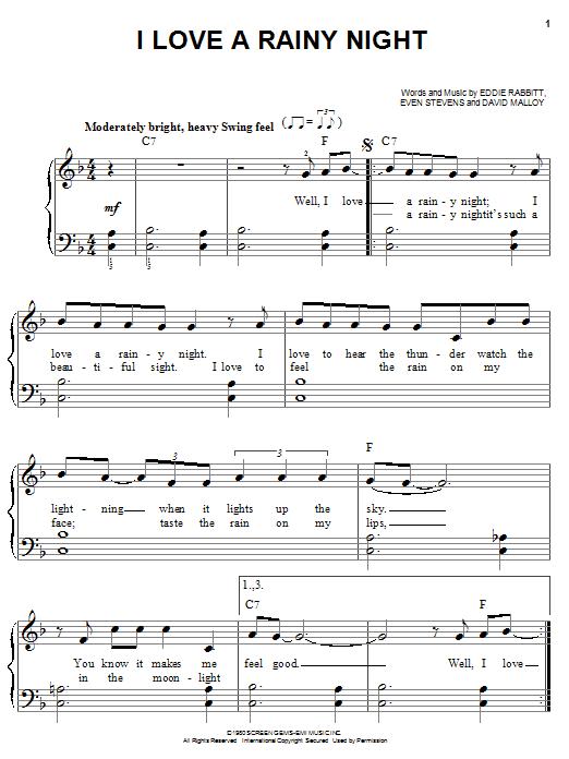 Eddie Rabbitt I Love A Rainy Night sheet music notes and chords. Download Printable PDF.