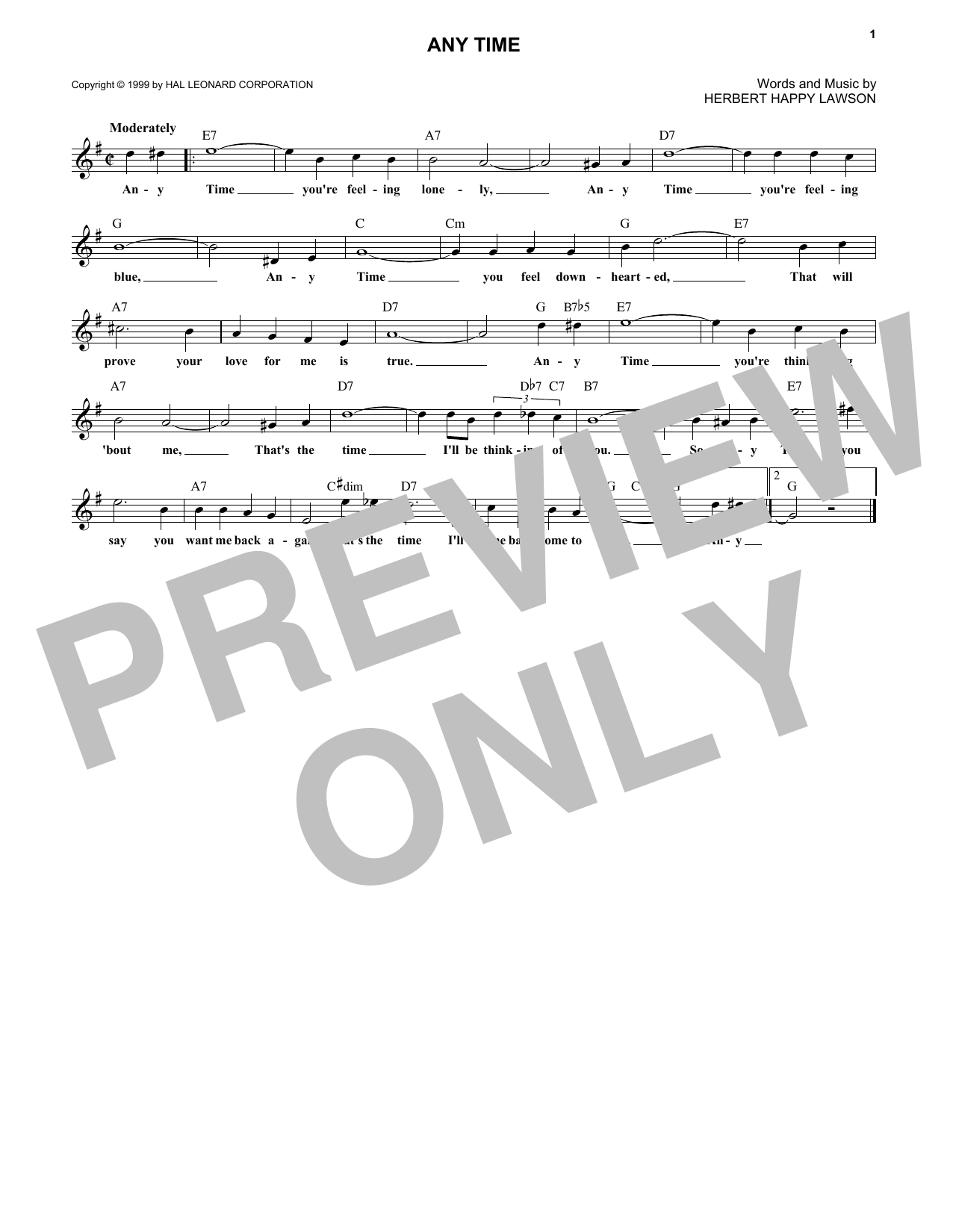 Eddy Arnold Any Time sheet music notes and chords. Download Printable PDF.
