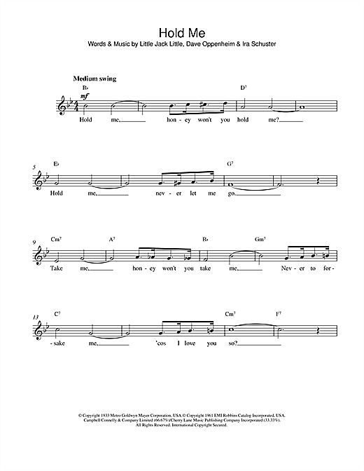 Eddy Arnold Hold Me sheet music notes and chords. Download Printable PDF.