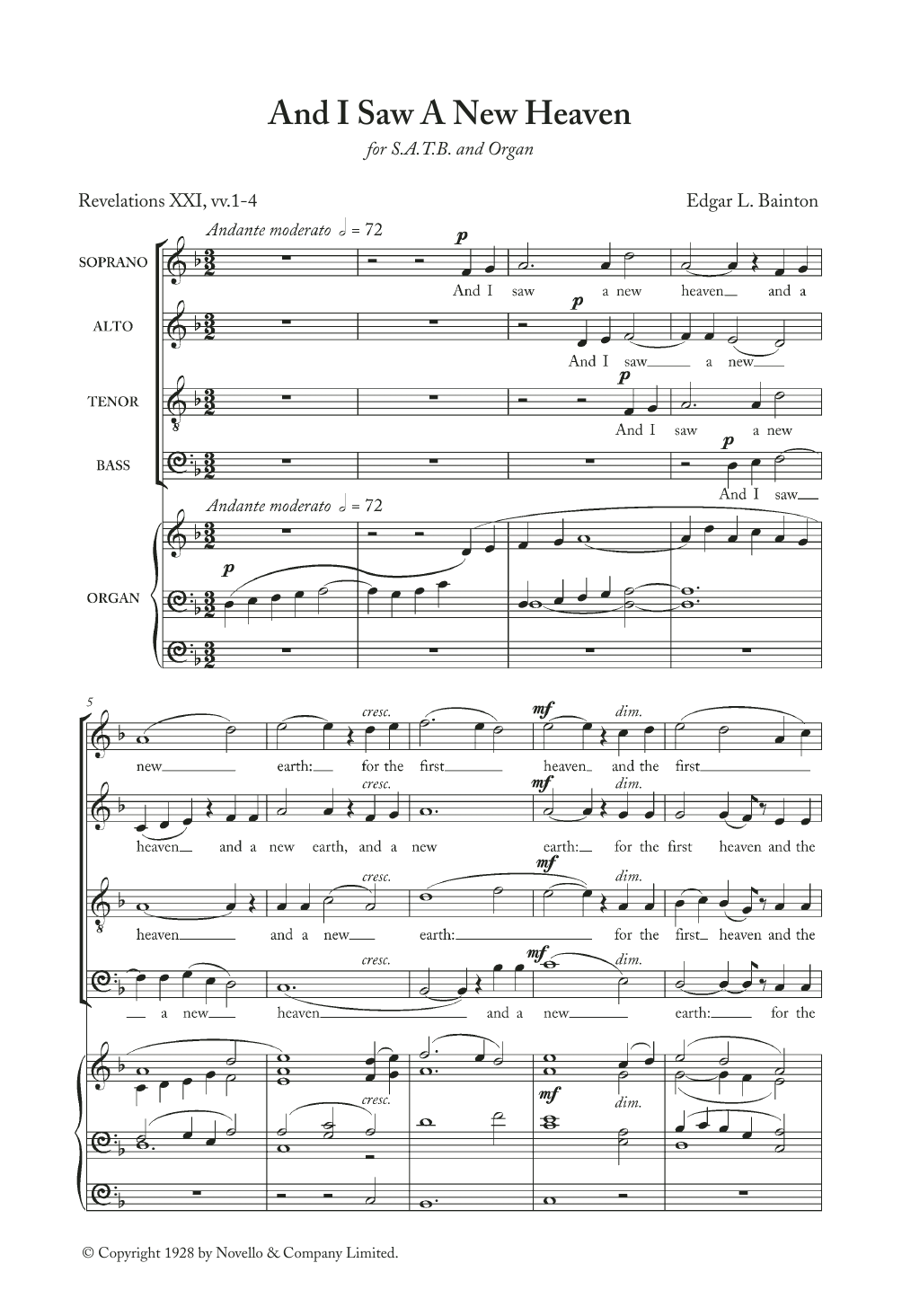 Edgar Bainton And I Saw A New Heaven sheet music notes and chords. Download Printable PDF.