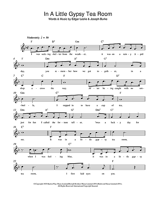 Edgar Leslie In A Little Gypsy Tea Room sheet music notes and chords. Download Printable PDF.