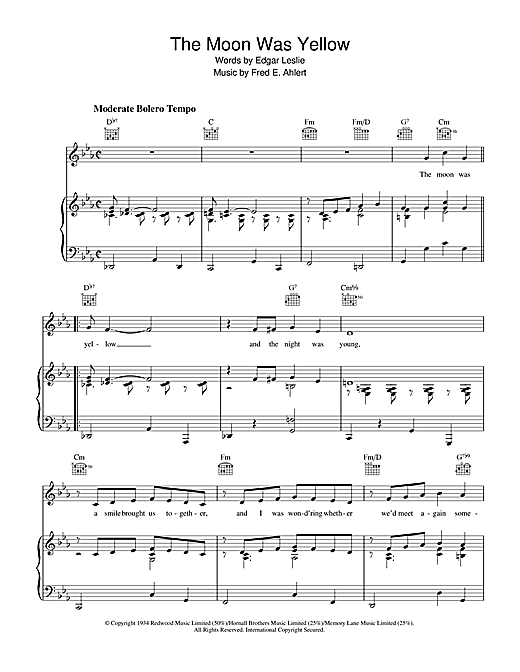 Edgar Leslie The Moon Was Yellow sheet music notes and chords. Download Printable PDF.
