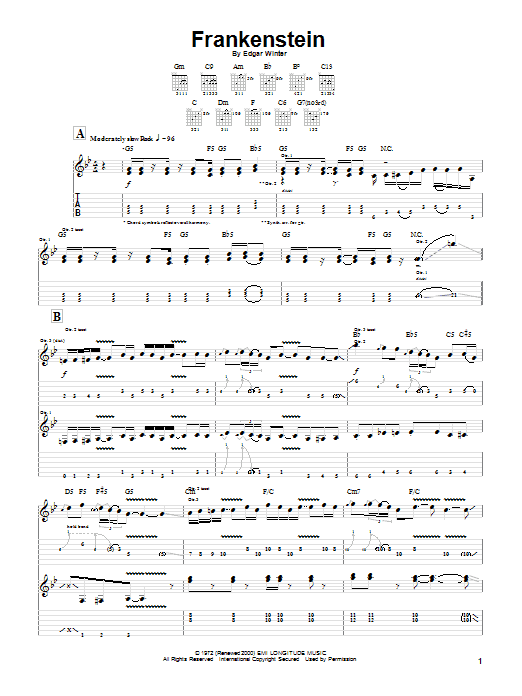 The Edgar Winter Group Frankenstein sheet music notes and chords. Download Printable PDF.