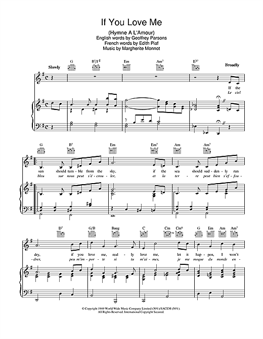 Edith Piaf If You Love Me (I Won't Care) (Hymne A L'amour) sheet music notes and chords. Download Printable PDF.