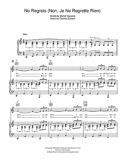 Edith Piaf No Regrets (Non, Je Ne Regrette Rien) sheet music notes and chords. Download Printable PDF.