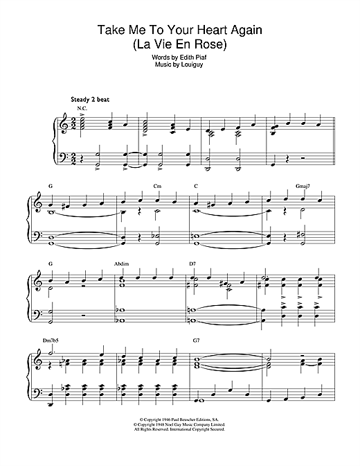 Edith Piaf Take Me To Your Heart Again (La Vie En Rose) sheet music notes and chords