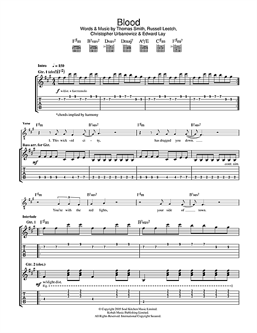 Editors Blood sheet music notes and chords. Download Printable PDF.