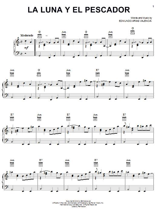 Edmundo Arias Valencia La Luna Y El Pescador sheet music notes and chords