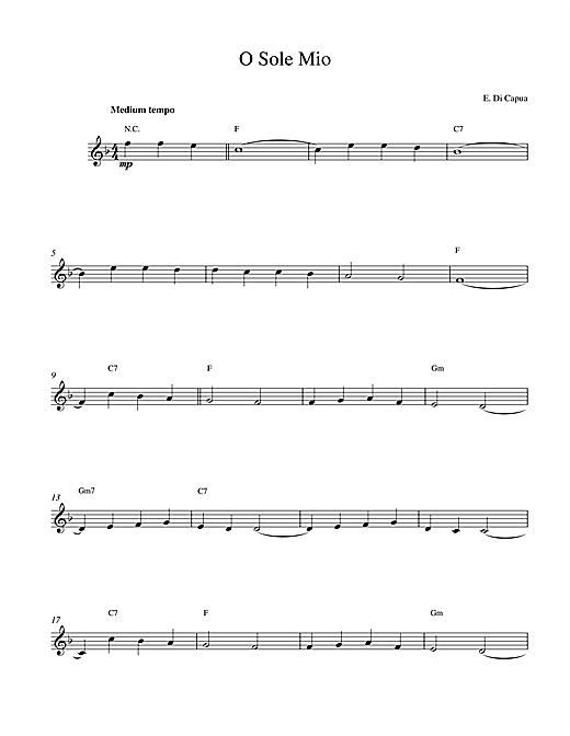 Eduardo Di Capua O Sole Mio sheet music notes and chords