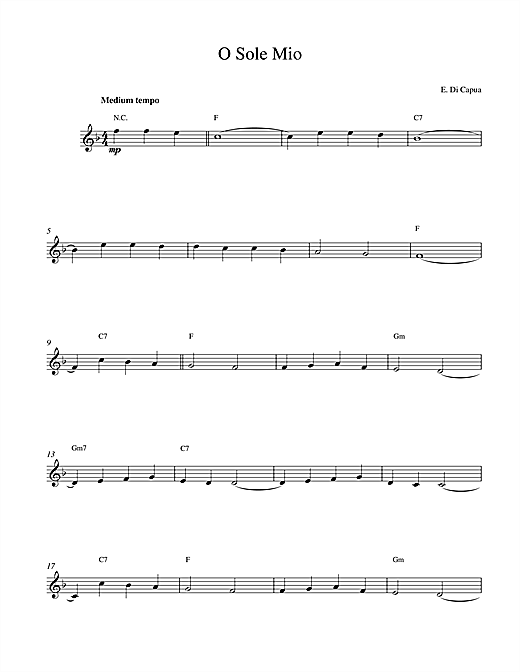 Eduardo Di Capua O Sole Mio sheet music notes and chords. Download Printable PDF.