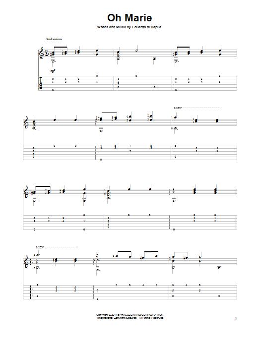 Eduardo di Capua Oh Marie sheet music notes and chords. Download Printable PDF.