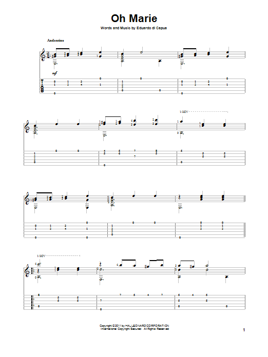 Eduardo di Capua Oh Marie sheet music notes and chords. Download Printable PDF.