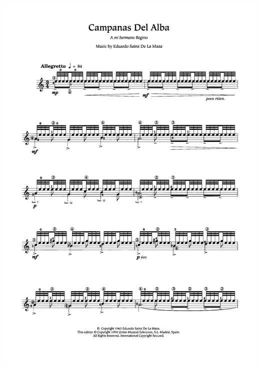 Eduardo Sainz de la Maza Campanas Del Alba sheet music notes and chords. Download Printable PDF.